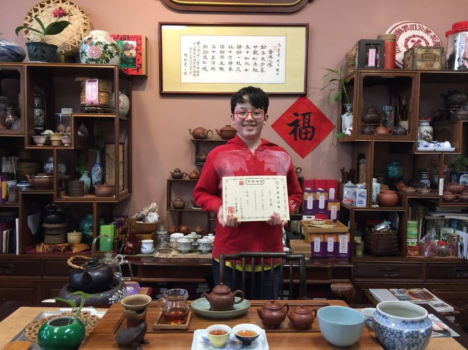 Receiving a certificate of completing a three-week tea course @ the Best Tea House in Richmond, BC. March 2017