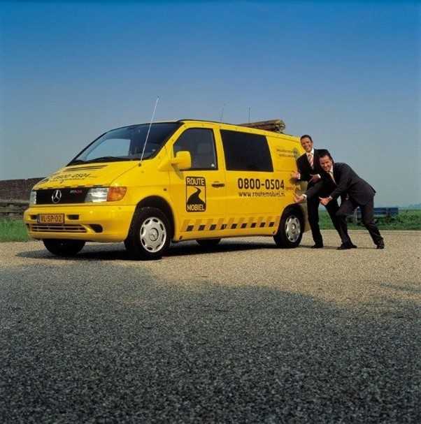 Marc and Michiel posing in front of their newest venture Route Mobiel
