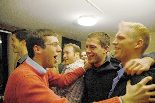 Magnus (<i>right</i>), together with his friends from The Harvard Crimson.