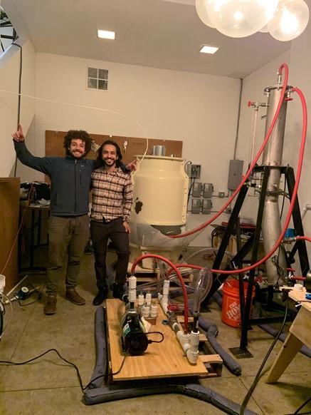 Josh and Daniel next to Noya's first industrial prototype