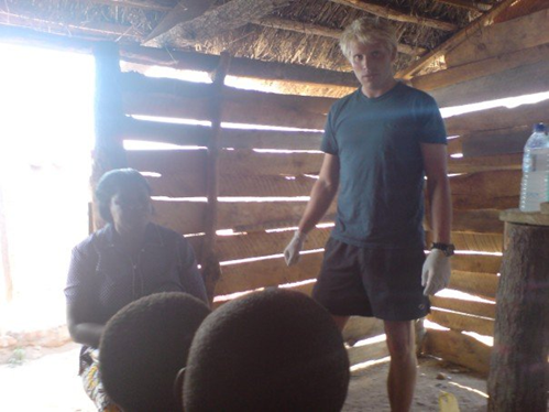 Magnus teaching first aid in Zambia, 2007