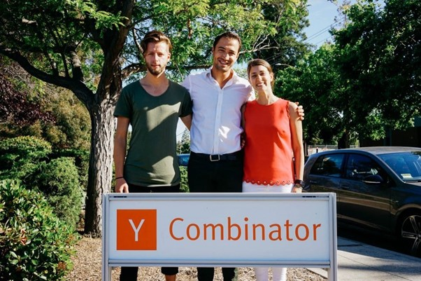 The team in front of the infamous YC office in Mountain View.