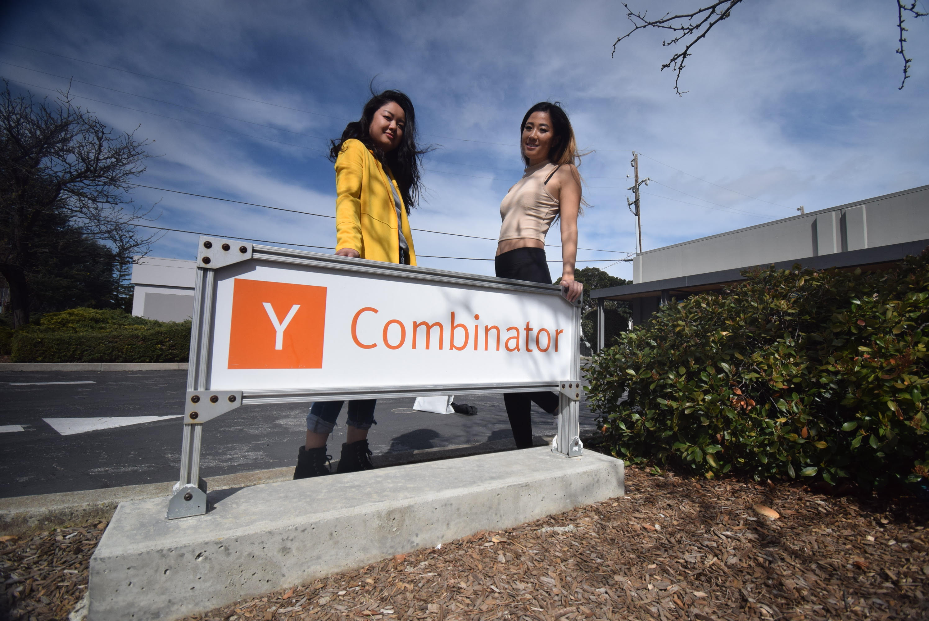 Quadrant Eye co-founders Quinn and Kristine at the infamous YC sign in Mountain View, California.