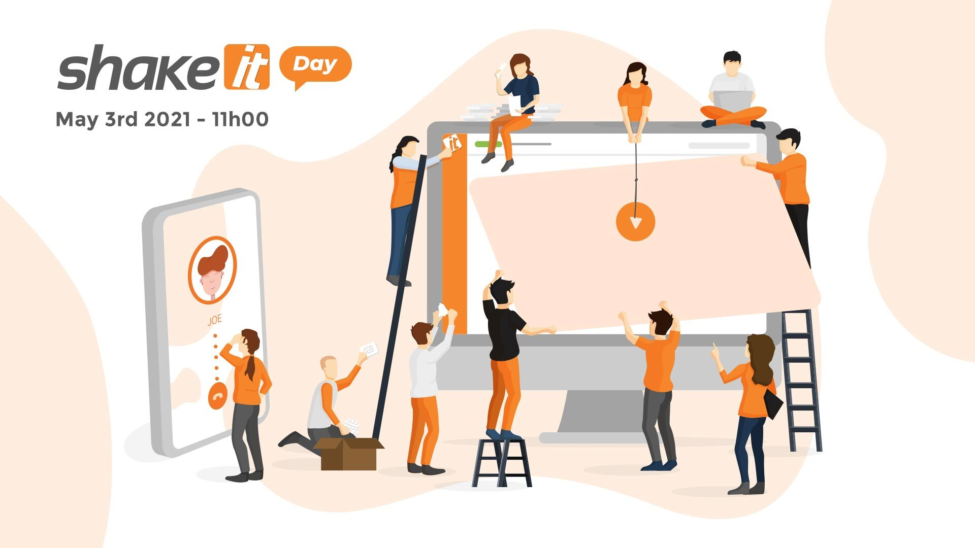 Key visual for Shake It Day 2021 - Illustration of the team building a platform